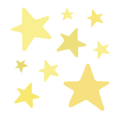 Set of golden and yellow shiny stars. Vector illustration doodle cartoon drawing. Hand drawn sparkle stars isolated. Star icons.