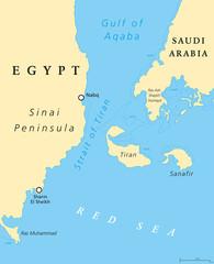 Strait of Tiran political map. Narrow sea passage between Sinai and Arabian peninsulas, seperates the Gulf of Aqaba from the Red Sea. Tiran and Sanafir Island. Illustration. English labeling. Vector.