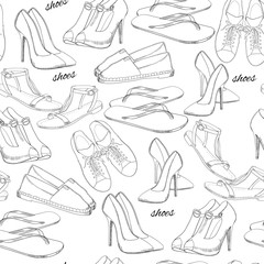 illustration of hand drawn seamless pattern Women Footwear. Casual, classical and sport style, gumshoes for girl. Shoes for summer. Doodle, drawing wallpaper, wrapping paper, backdrop.