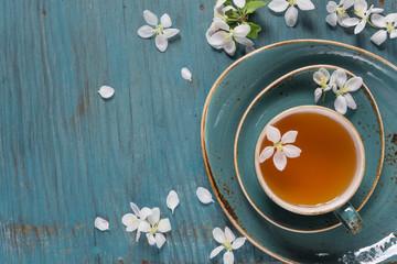 Green tea and apple-tree flowers
