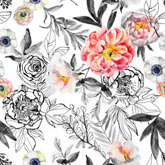 Watercolor and ink doodle flowers, leaves, weeds seamless pattern.