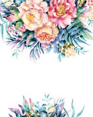 Watercolor flowers, leaves, berry, weeds arrangement.
