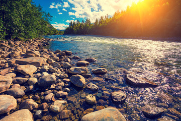 Deurstickers Rivier Mountain valley with the river in evening. Beautiful nature Norway