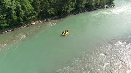 Fototapete - Aerial 4K - Rafting - Fiume Adda - Valtellina (IT)