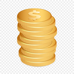 Vector Illustration of golden coins. Isolated on transparent background