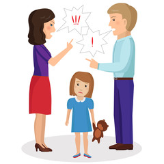 Child is experiencing because of a quarrel parents. Vector Illustration