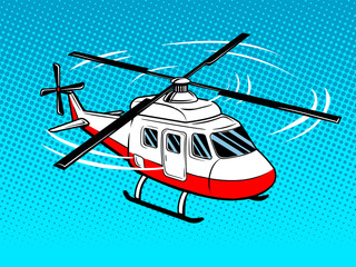 Rescue helicopter pop art vector illustration