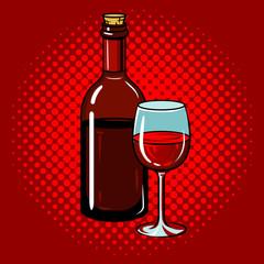 Fotobehang Pop Art Bottle of wine with glass pop art vector
