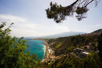 View of Taormina-giardini train station from Giardini della Villa Comunale park in Taormina, Sicily.