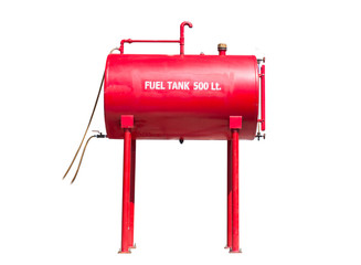 Red fuel tank 500 liters isolated on white background.