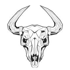Bull's skull stylized triangle polygonal model