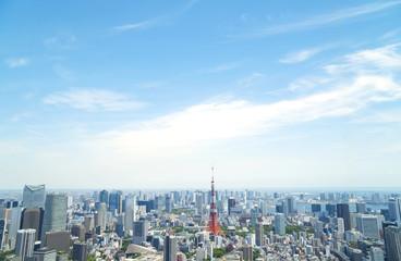 東京都市風景 東京タワー 六本木から望む東京湾方面