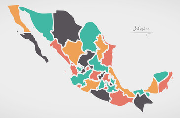 Mexican Map with states and modern round shapes