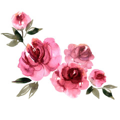 Cute watercolor hand  painted pink peonies.  Invitation. Wedding card.  Birthday card.