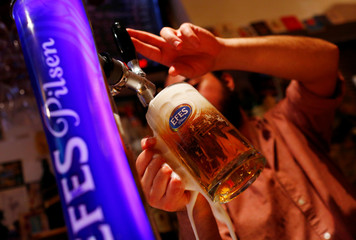 A waiter drafts a glass of beer from an Efes Pilsen branded beer pump in a bar in Istanbul