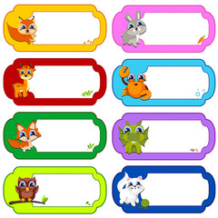 Illustration of many animals in a colored frames. Color vector illustration.