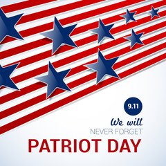 Patriot Day design template on abstract background with blue stars and red stripes. vector