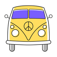 Vector flat color van bus icon with thin line outline isolated on white background