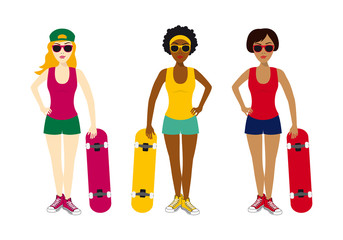 Girls with skateboard vector. Cartoon girls. Group of young girls on a white background