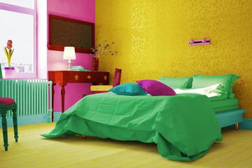 Schlafzimmer mit Bett in bunten Farben