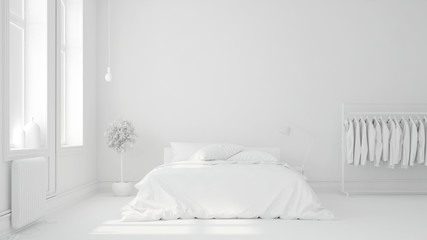 Bett vor Wand in Schlafzimmer