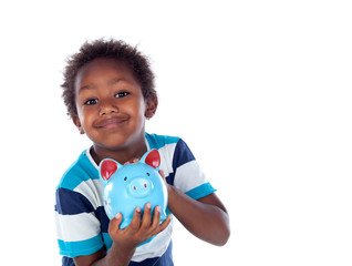 Beautiful afroamerican child with a blue moneybox
