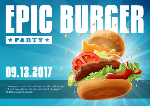 Epic Burger Party - poster flyer template