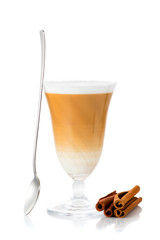 Cup cappuccino isolated on white background