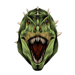the dinosaur head is symmetrical looks right with open mouth, skin green color, sketch vector graphics color picture