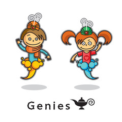 Two genie - male and female in the smoke. Vector icon, isolated illustration. Cartoon characters.