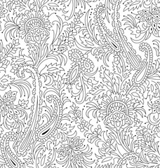 Seamless Outline Floral and paisley Pattern