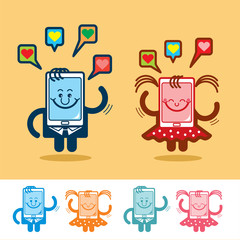 Funny Cartoon Phone. Cute characters of mobile telephones. Vector illustration.