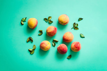 Fresh Peaches on Turquoise Background, Summer Food Wallpaper, Horizontal Top View