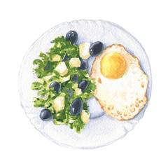 Hand drawn watercolor breakfast with egg and greek salad, food illustration isolated on white background.