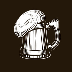 Craft beer logo - vector illustration, emblem brewery design on dark background.