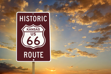 Fotobehang Route 66 Historic Kansas Route 66 Brown Sign with Sunset