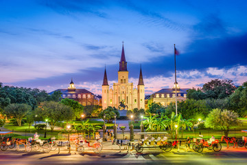 New Orleans, Louisiana, USA at Jackson Square during twilight.