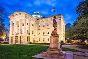 North Carolina State Capitol in Raleigh, North Carolina, USA at twilight.