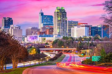 Raleigh, North Carolina, USA downtown skyline at twilight.