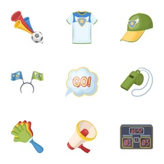 A scarf, a hat with horns and other attributes of the fans.Fans set collection icons in cartoon style vector symbol stock illustration web.