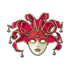 Decorated Venetian carnival, jester mask with bells and golden glitter, sketch style vector illustration isolated on white background. Realistic hand drawing of carnival, Venetian mask with bells
