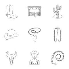 A set of pictures about cowboys. Cowboys on the ranch, horses, weapons, whips.Rodeo icon in set collection on outline style vector symbol stock illustration.
