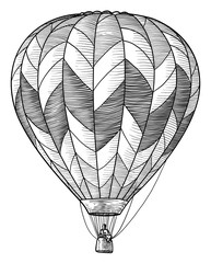 Hot air balloon illustration, drawing, engraving, ink, line art, vector