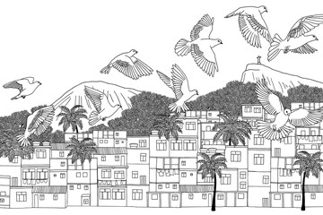 Birds over Rio - hand drawn illustration of Rio de Janeiro, Brazil with a flock of birds