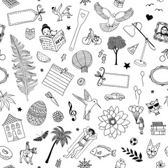 Seamless pattern of random items, like birds, flowers, trees, cats, frames, people, labels etc.