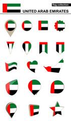 United Arab Emirates Flag Collection. Big set for design.