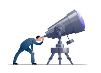 Vector cartoon astronomer looking through a telescope