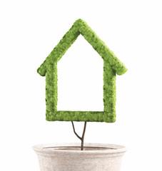 Casa verde ecologica in vaso di terra, 3d render