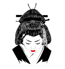 a Japanese hostess trained to entertain men with conversation, dance, and song.. Geisha. Vector illustration on white background.