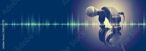 Studio microphone and sound waves Sound engineering and